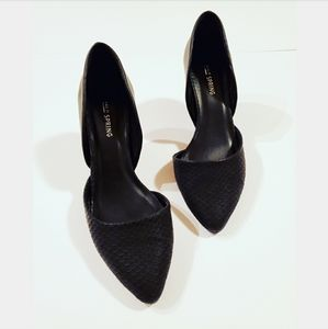 Call It Spring Suede Snake Cut Out Heel Shoes